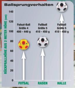 Ballsprungverhalten eines Futsal-Balles im Vergleich zu einem herkömmlichen Ball